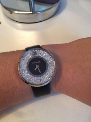 Cuero Pulsera Negro Con De Swarovski Reloj hBrdoCxtsQ