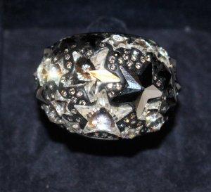 SWAROVSKI Fizz Ring Sterne schwarz silber Gr. 52