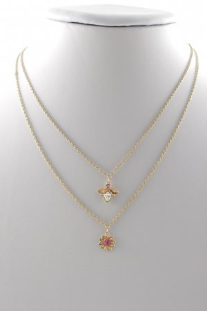 Swarovski Gold Chain gold-colored-light pink flower pattern wet-look