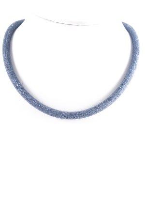 Swarovski Halskette silberfarben-dunkelblau Glitzer-Optik