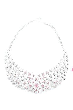 Swarovski Collier argenté-rose motif de fleur élégant