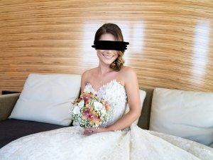 Glamorous Abito da sposa bianco sporco-oro