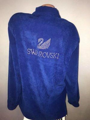 Swarovski Jacke Cardigan in gr L Wildleder Optik Royal Blau