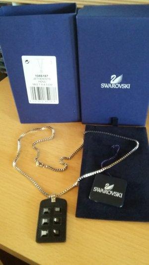 Swarovski Collar negro-color plata Cuero