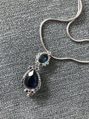 Swarovski Collier argenté-bleu foncé