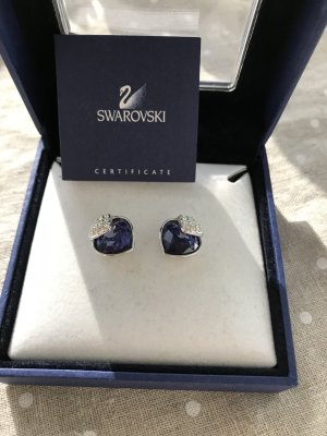 Swarovski Ear stud silver-colored-steel blue
