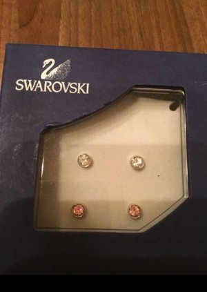 Swarovski Ohrstecker Set weiß, rosa neu