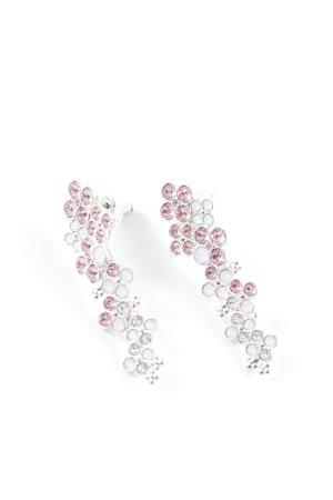 Swarovski Zarcillo color plata-rosa estampado floral elegante