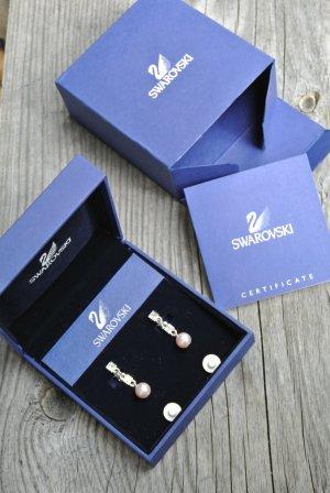 Swarovski Boucles d'oreilles en perles rose clair-argenté