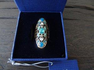 SWAROVSKI Ring, Gold mit blauen Steinen, Gr. 52, NEU!!