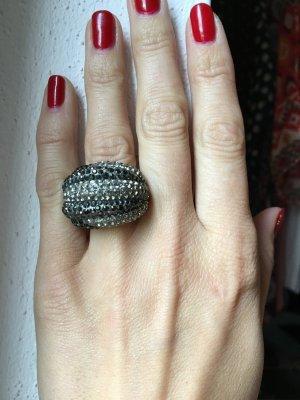 Swarovski Ring Gr 52 grau schwarz weiß