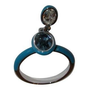 Swarovski Ring in silber/türkis mit flexiblem beweglichen Stein