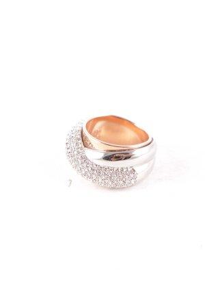 Swarovski Ring silberfarben-goldfarben Glitzer-Optik