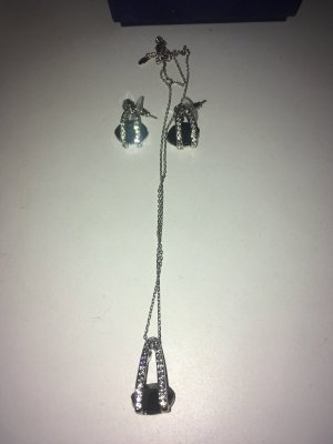 Swarovski Zarcillo negro-color plata