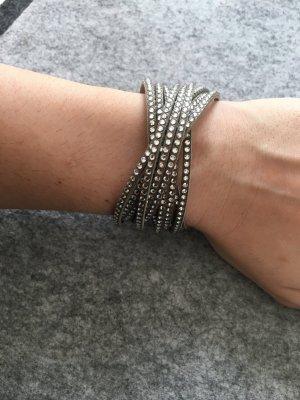 Swarovski Slake Silk Armband in grau mit silbernen Kristallen
