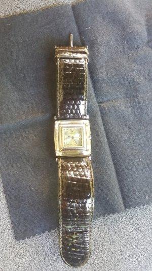 Swarovski Watch With Leather Strap olive green