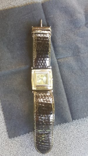 Swarovski Watch With Leather Strap olive green