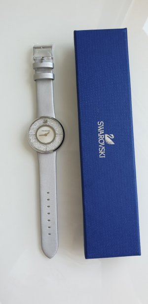 Swarovski Watch With Leather Strap silver-colored