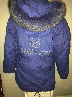 Swarovski Winter Jacke in Gr 42 Farbe Blau XXl Fell Kragen
