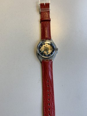 Swatch Self-Winding Watch red leather