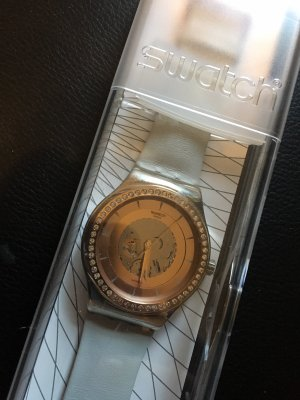 Swatch Watch With Leather Strap white