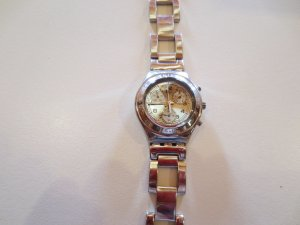 Swatch Irony Chrono, silber, Metallband, neue Batterie