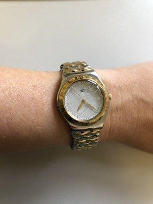 Swatch Horloge met metalen riempje zilver-goud
