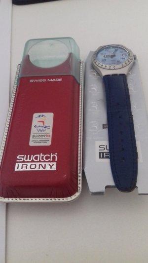 Swatch Orologio con cinturino di pelle azzurro
