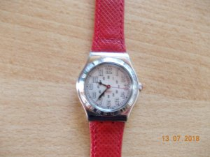 Swatch Watch With Leather Strap neon red leather