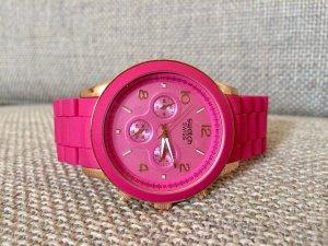 Swatch Swiss Armbanduhr, pink/vergoldet