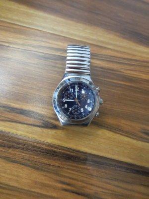 Swatch Uhr Blau, Metallband, Datumsanzeige Service Reparatur notwendig
