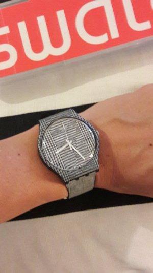 Swatch Uhr Gent schwarz-weiß kariert