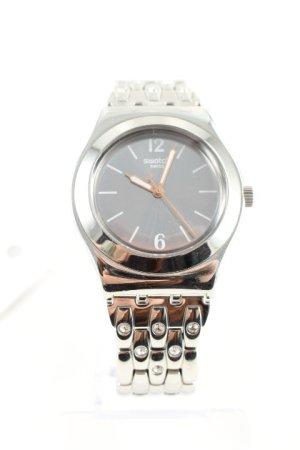 Swatch Uhr mit Metallband silberfarben Webmuster Casual-Look