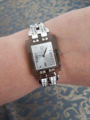 Swatch Uhr mit Strass-Steinen, edel, silberfarben