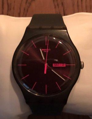 Swatch Uhr Schwarz-Pink