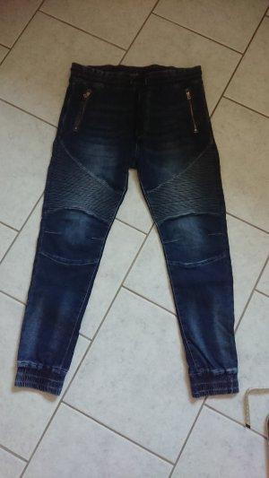 Sweat Denim Jeans Sweatstoff Biker Gr 40 Schlupfjeans Joggjeans