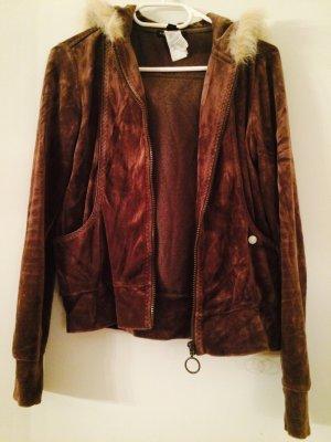 Sweat-Jacke aus Nicki-Samt mit Fellkragen