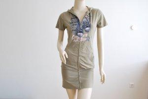 Sweat Jacke / Sweat Minikleid mit Kapuze, olivgrün von ANNA MODAPIU