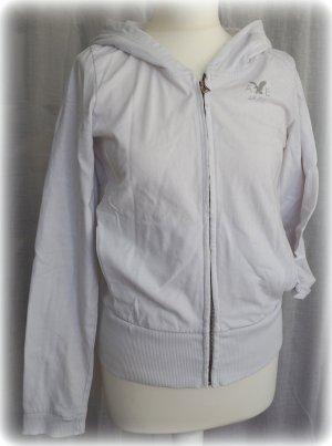 Sweat-Jacke weiß mit Kapuze in Gr. M