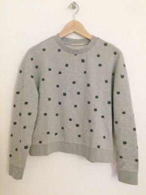 Sweater grau neu cropped und oversized mit Katzenköpfen