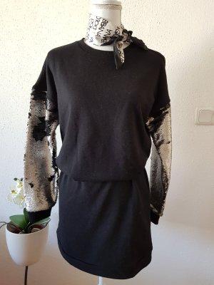 Amisu Vestido de tela de sudadera negro-gris claro Algodón