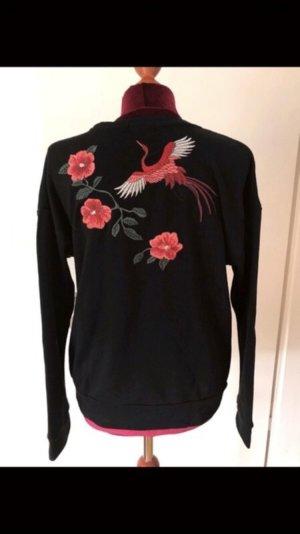 Sweater mit Blumenstickerei und Vogel 36 38