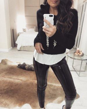 Zara Sweat à capuche noir-blanc
