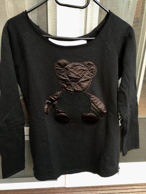 Sweater schwarz Langarm mit Bärenapplikation Gr. 34