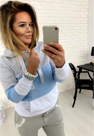 Sweater Streifen Stripes Puderfarbe Kapuze Pullover HOODIE Blogger Pulli Passt bei S-L
