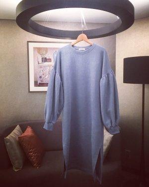sweater • sweat kleid • puff sleeves • vintage • boho • taubenblau • oversized