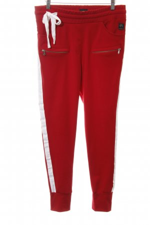 Sweat Pants brick red-white simple style