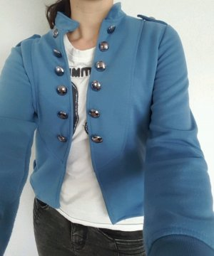 Giacca militare antracite-blu fiordaliso