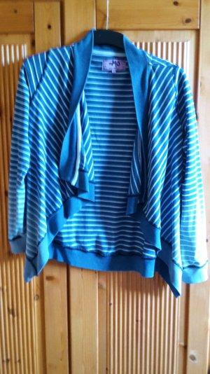 Sweatjacke Cardigan blau weiss S