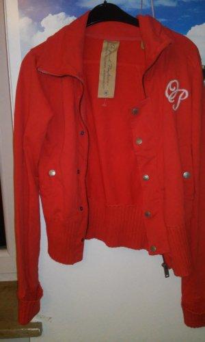 Veste sweat rouge coton